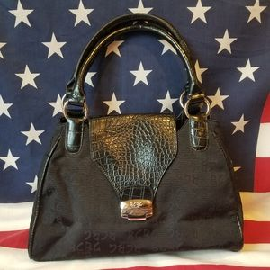BCBG Paris Black Leather & Fabric Shoulder Bag